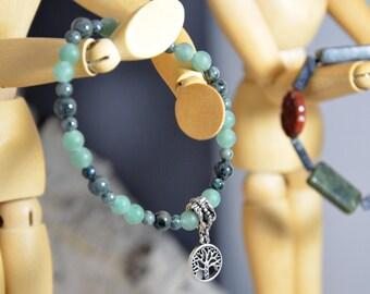 Tree of Life Stretch Bracelet, Green Serpentine, Sea Glass Beaded, Natural, Earthy, Healing, Women, Men, Unisex