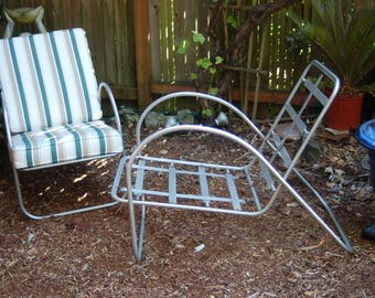 Pair 1940's Sculptured Tubular Frames Aluminum slat / strap Sling Back Patio / Solarium / Garden Lounge Chairs with Replaced Stripe Cushions