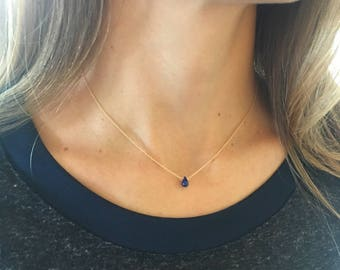 Sapphire Necklace, Real Sapphire, September Birthstone, Geniune Sapphire, Dainty Necklace, Tiny Sapphire, Layering Necklace