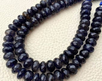 8 Inch Strand, Superb-Natural WATER SAPPHIRE IOLITE Faceted Rondells, 8.5-9mm Long,Fine Quality at Wholesale Price .