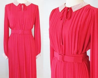 40% OFF SALE Vintage Bright Red Formal Party Dress / JACK Bryan Designer 1960's does 40's Red Silky Pleated Skirting Long Sleeve Belt Dress