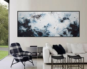 original abstract seascape painting large blue white grey painting modern minimalist wall art 'a dream like that'