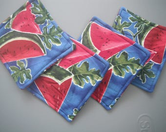 Watermelon Print Drink Coasters - Summer - House Warming / Hostess Gifts - Under Ten - Handmade Gifts
