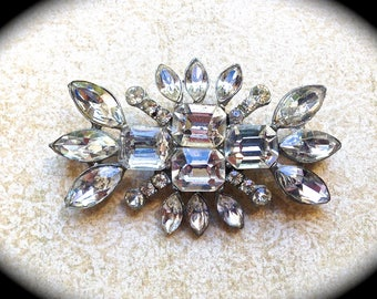 Large Rhinestone Brooch~ Bridal Pin~ Authentic Vintage - Crystal Rhinestone Brooch -- by https://www.etsy.com/shop/JNPVintageJewelry