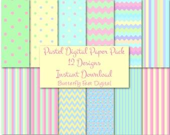 Pastel Digital Paper Pack, 12 Printable Designs, Scrapbooking, Card Making, Instant Download