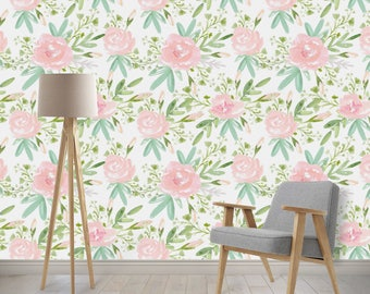 Removable Wallpaper - Watercolor Floral Wallpaper, Pink, Peach, Green, Woven Nursery Wallpaper, Peel and Stick Wallpaper with Ocean Waves