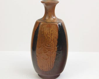 Robert Maxwell Ceramics Stoneware Patterned Brown Black Vase
