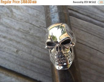 ON SALE Skull ring cast in sterling silver
