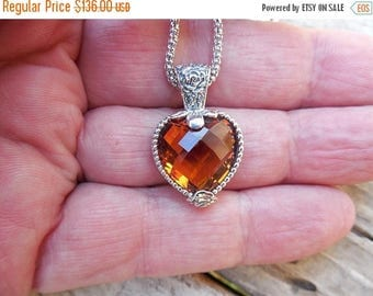 ON SALE Beautiful Madeira citrine heart necklace handmade in sterling silver