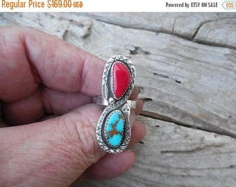ON SALE Rattlesnake two stone ring handmade in sterling silver with red Rosarita stone and natural Pilot Mountain turquoise