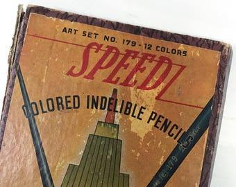Empty Vintage Colored Pencil Box Vintage Art Supply Empire Pencil Company