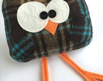 soft plush owl, upcycled clothing, recycled clothing, upcycled wool, soft owl plush, green gift idea, plush owl, funny gift idea, quirky owl