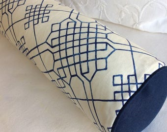 8x36 BOLSTER pillow includes insert in Indigo blue print and ivory linen
