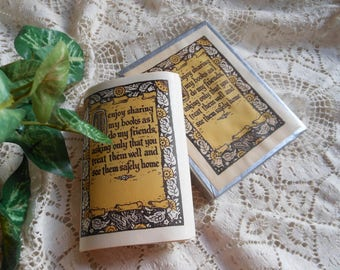 Box Antioch Bookplates Old English Font 'Sharing' Vintage at Quilted Nest