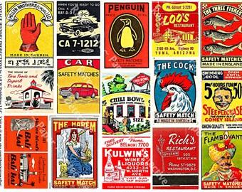 Safety Matchbox Art - Digital Collage Tags, Matchbook Clip Art, Match Box Covers, Matchbook Cover Art, Wood Match Box, Matchbook Label, 155b