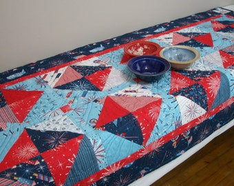 Patriotic Table Runner Red White Blue Stars Freedom Land of the Free Quilted Quiltsy Handmade Fireworks FREE U.S. Shipping 4th of July