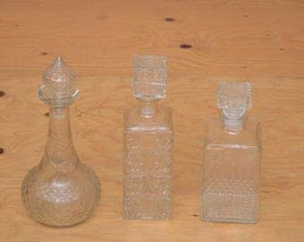 Vintage 60's Set Of Three Cut Glass Decanters Geometric Like Pattern Different Sizes