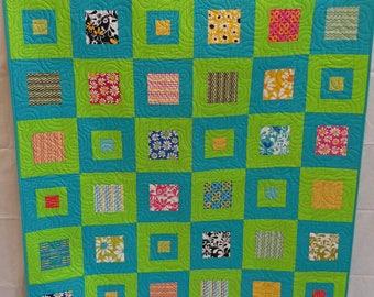 Modern Lap Quilt, Handmade Quilt, Geometric Quilt, Patchwork Quilt, Quilts for sale, Blue Quilt, Green Quilt