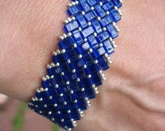 Glass Half Tila Beaded Bracelet in Cobalt Blue and Silver