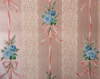 Vintage Wallpaper - Pink Ribbons Blue Roses on Pink Background - 1 yard