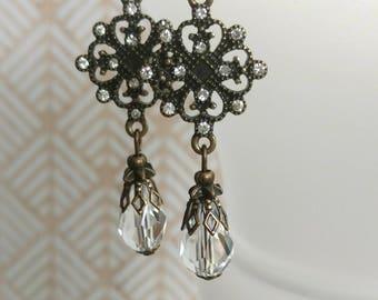 Vintage Style Earrings - Edwardian Jewelry - Downton Abbey Inspired - Victorian Earrings - Bridal Earrings - Gift for Her - Womens Jewelry