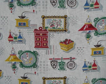 Vintage Kitchen Cafe Curtain and Valance, Chicken Print, Utensils Print,  Cotton Fabric, 1950s-60s