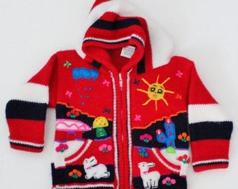 50% half off sale // Vintage 80s Llama Red Folk Art Sweater - Kids 2T - Childrens Hooded - Sun Rain Cardigan, Peru