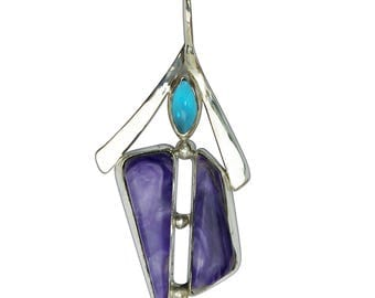Charoite, Antique Czechoslovakian Glass 3 Stone Pendant set in Sterling Silver  pchth2830