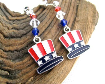 Red, White, and Blue Crystal Bling Patriotic Uncle Sam Hat Long Dangly Fourth of July Earrings