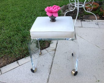 """VINTAGE LUCITE BENCH Waterfall Lucite with Casters / 17 3/4"""" x 12.5"""" Lucite Bench White Vinyl / Hollywood Regency Style at Retro Daisy Girl"""