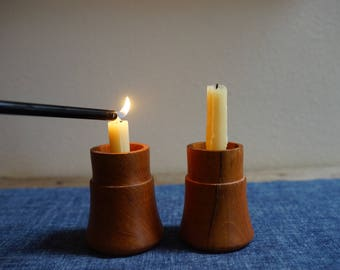 vintage wood candleholder / teak / 1960s / hygge home /modern farmhouse / candlestick / table decor