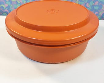 Vintage Retro 70s Orange Tupperware Round Container 1346-4 & Lid 1337-9
