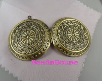 2pcs - (45mm) Big Round Vintage Antique Brass Photo Locket Pendant - Nickel Free