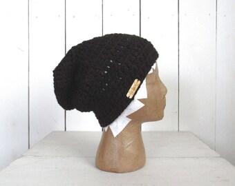 Alpaca Wool Beanie Black Slouchy Beanie California Crochet Knit Winter Hat The Local in Black