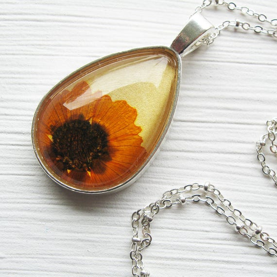 Real Pressed Flower Necklace - Coreopsis - Silver Yellow Orange Botanical Silver Teardrop