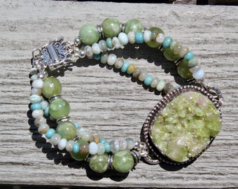 Vasuvianite with Peruvian Opals, triple strand bracelet on sterling silver by EvyDaywear