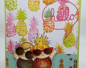 Summertime Hello Friends Blank NoteCard, Greetings Card, Handmade Card