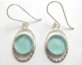 Summer Sale Amazing Bluish  Roman Glass 925 Sterling Silver Earrings