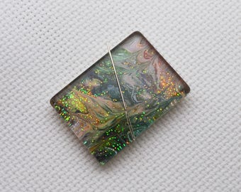 Glass Needle Minder with Miniature Painting - OOAK - 30x22mm Rectangle, Rare Earth Magnet
