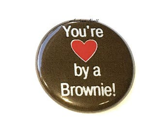 "Brownie, 1"", 1.5"", 2.25"", Button, Brownie Pin, Brownie Birthday, Brownie Party Favor, Brownie Theme, Brownie Decor, Heart Brownie, Brown Pin"