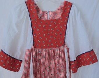 60s Gunne Sax Style Maxi Dress Teenage Girl's Vintage Dress Red & White 70s Peasant Prairie Dress Sears Hawaii Petite Woman's Maxi Dress