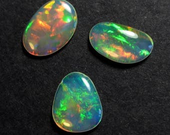 VIDEO: Jewellers Pack - 3 x Solid crystal Ethiopian Opal Free Form Cabochons - 8 - 9mm - Natural - Opal  - Supplies - RT47