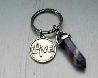 Amethyst Keyring, Live Love Key Ring, Chakra Gemstone Pendant Key Chain