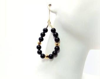 Black Onyx and Gold Teardrop Hoop Earrings – Black and Gold Beaded Hoop Earrings – Black and Gold Earrings