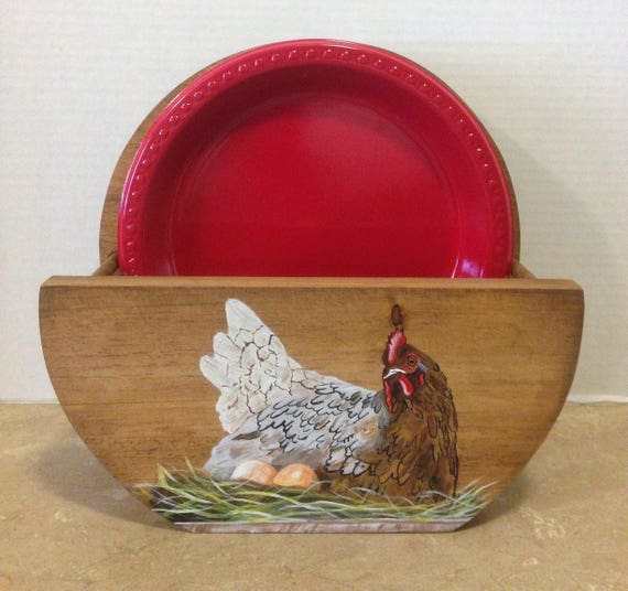 Paper Plate Holder, Wooden Plate Holder, Chicken Decor, Chicken Kitchen, Hen Decor, Country Kitchen Decor, Country Decor, Farmhouse Decor