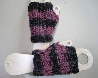 Chunky Mitts Fingerless Texting Gloves Wristlets Striped Pink Black Wool Blend Short - Size Medium