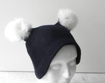 Black wool hat, Hat with ears, felted hat, black felt hat, merino wool hat, hat from wool, ready to send