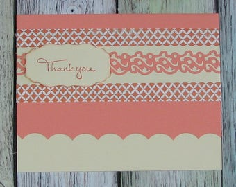 Lovely handcrafted Thinking of You card in peach--CB81217-16