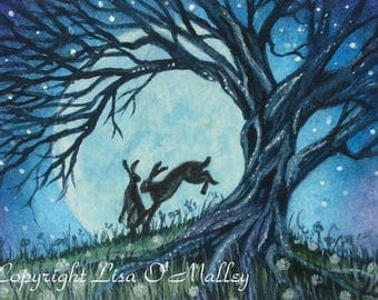 """ACEO Print Hare """"The Dance"""""""