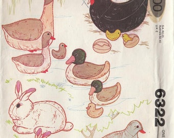 Vintage Sewing Pattern Stuffed Animals Birds Fowl Chickens  Bunny Dove Ducks Geese UNCUT Toys Eggs Decor